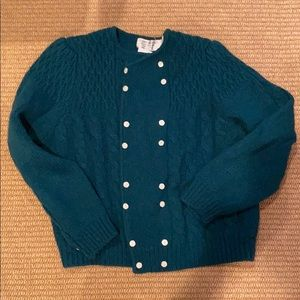 Vintage shetland wool sweater cardigan cable